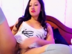Sexy Brunette Spreadeagle With Vibrator In Bush Pussy