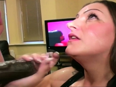 Hot Brunette Is Surrounded By Men With Jizz Loaded Cocks
