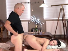 OLD4K. Sex of mature guy and his young wife starts with...