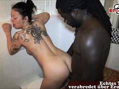 german skinny teen fuck in bathroom from big black cock