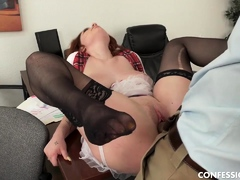 Busty Redhead Schoolgirl Pounded By Professor After Blowing