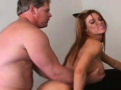 Captivating woman blowing large fuck stick