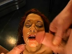 Babe's face is filled with sex semen