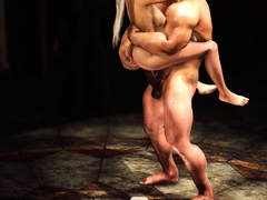 A hot sexy blonde gets fucked hard by a big man in castle