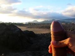 masturbation beach in front two girls with cum