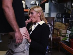 Sexy Milf sucks off and banged real hard in storage room