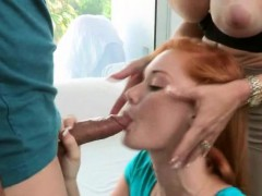 Red Headed Teen And MILF Sucking Dick In Threesome