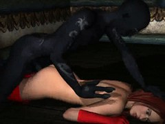 3D redhead sucks cock and gets fucked by a monster
