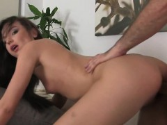 Slim babe masturbating and fucking on the casting couch